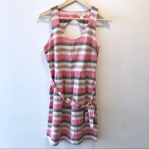 LOFT Pink Striped Linen Blend Dress Belted Cut Out